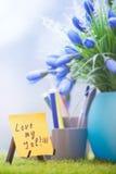 Note adhésive avec amour mon texte du travail Image stock
