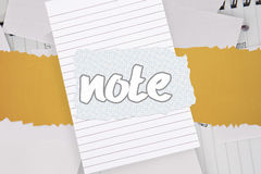 Note against brainstorm covered by white paper Stock Image