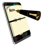 Note application for Smart Phone. Note app for Smart Phone vector illustration Royalty Free Stock Photos