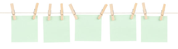 Note appuntate verde Immagine Stock Libera da Diritti