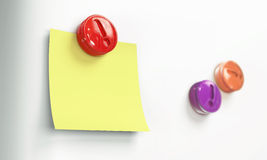 Note attached magnet 3d model Stock Images