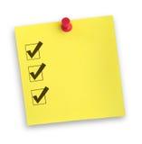 Note avec la liste de contrôle réalisée Image libre de droits