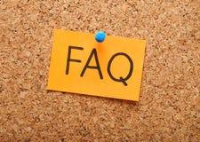 Note avec le FAQ Photos libres de droits