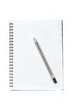 Note book with black pen Stock Images
