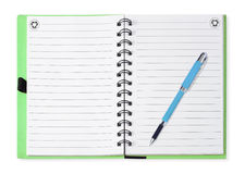 Note book with blue pen, isolated on white Royalty Free Stock Photography