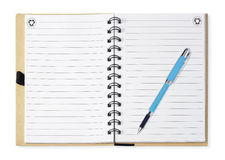 Note book with blue pen, isolated on white Stock Image