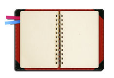 Note book with bookmark. An open note book with two color bookmark royalty free stock photo