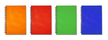 Note Book collection. Orange red green blue Note Book Stock Photos