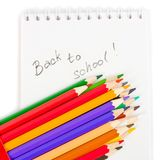 Note book and colored pencils Royalty Free Stock Image