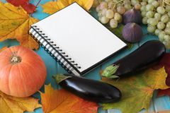 Note book and composition of vegetables on blue wooden desk. Stock Photo