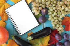Note book and composition of vegetables on blue wooden desk. Stock Photos
