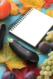 Note book and composition of vegetables on blue wooden desk. Stock Photography