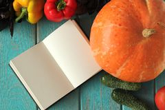 Note book and composition of vegetables on blue wooden desk. Royalty Free Stock Images