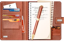 Note Book and Credit Card Holder Stock Photos