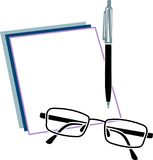 Note book with eye glasses and pen Royalty Free Stock Images