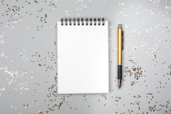 Note book on festive background