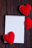 Note book and hearts Royalty Free Stock Image
