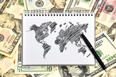 Note book with map Stock Image