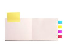 Note book note pad. Notebook note pad with post-its Royalty Free Stock Photo