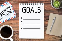 Note book page with life goals concept.  stock images