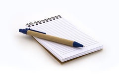 Note book with pen. On white background Stock Images