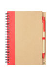 Note book and Pen. Made From Recycled Materials on White Background royalty free stock image