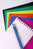 Note book with pen Stock Image