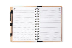 Note book with pen, isolated Stock Photography