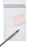 Note book and pencil. Isolated on white Royalty Free Stock Photo