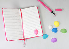 Note book pencil text empty Royalty Free Stock Photos