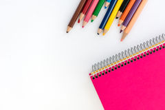 Note book and pencils. Back to school photography. Royalty Free Stock Images