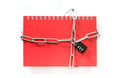 Note Book red lock with a key chain. Stock Photography