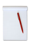 Note book with red pen. Isolated on white Royalty Free Stock Photos