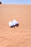 Note book on sand dune of Wadi Rum desert Stock Images
