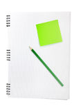 Note book with sticker. And pencil over there Royalty Free Stock Image