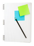 Note book with sticker Stock Photography