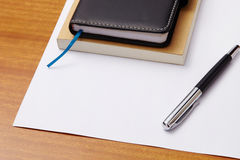 Note books with pen and paper for text Stock Photo