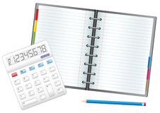 Note business. Business objects, the calculator, pencil and notebook Royalty Free Stock Image