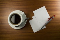 Note Card, Pen and Coffee Cup Royalty Free Stock Images