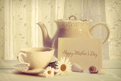 Note card with teapot and cup for Mother's day stock photography