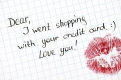 Note - chère, je suis allé faire des emplettes avec votre carte de crédit Aimez-vous ! WI Image stock