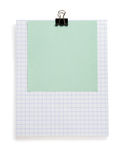 Note checked paper and clip on white Stock Photo