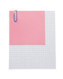 Note checked paper and clip on white Royalty Free Stock Image