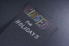 Note for closed on holidays Stock Photo