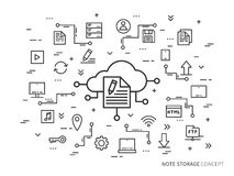 Note cloud concept. Online note storage vector illustration. Web cloud technology graphic design. File storage creative concept. Linear internet data storage Royalty Free Stock Image