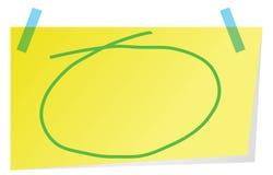 Note collante avec le cercle tiré par la main vert pour accentuer le texte Image libre de droits