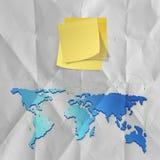 Note collante avec le papier chiffonné en tant que structure de réseau sociale concentrée Images stock