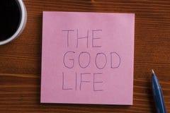 Note collante avec le tex la bonne vie Photo libre de droits