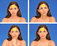 Note collante d'american national standard de beau femme Photographie stock libre de droits