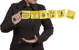 Note collante de blanc d'exposition de main de femme d'affaires avec le fond blanc Photographie stock libre de droits